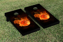 Flaming Basketball Cornhole Set with Bags