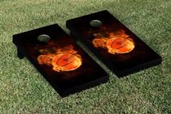 Flaming Basketball Cornhole Set with Bags