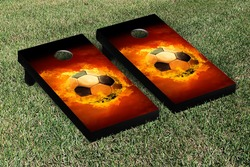Flaming Soccer Ball Cornhole Set with Bags