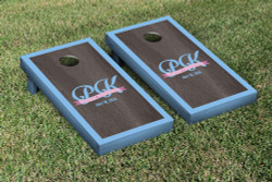 Onyx Monogram Blue Border Cornhole Set with Bags