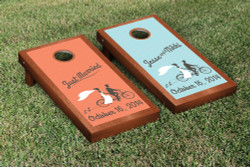 Rosewood Tandem Biycle Wedding Cornhole Set with Bags