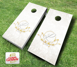 Wedding Gold Leaf Cornhole Set with Bags