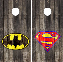 Batman / Superman on Wood Cornhole Wraps