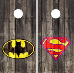 Batman / Superman on Wood Cornhole Wraps
