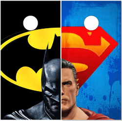 Batman / Superman Faceoff Cornhole Wraps