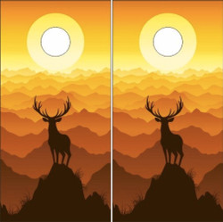 Deer Sunset Cornhole Wraps