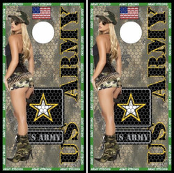 Army Girl Cornhole Wraps