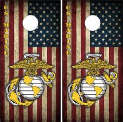 American Flag Marines Cornhole Wraps