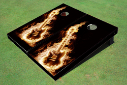 Flaming Guitar Cornhole Set with Bags