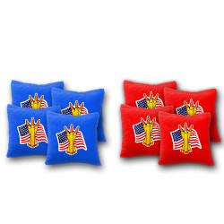 USA Flag with Bullets Cornhole Bags - Set of 8