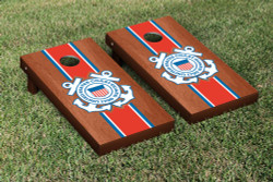 Rosewood Stained US Coast Guard Cornhole Set with Bags