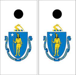 Massachusetts Flag Cornhole Set with Bags