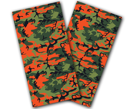 Orange Camo Cornhole Wraps