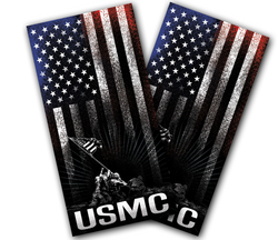 USMC Hanging Stripes Cornhole Wraps