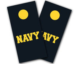 Navy Text Cornhole Wraps