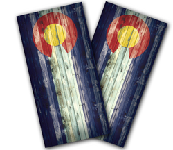 Colorado Flag Distressed Cornhole Wraps