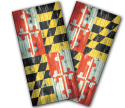 Maryland Flag Distressed Cornhole Wraps