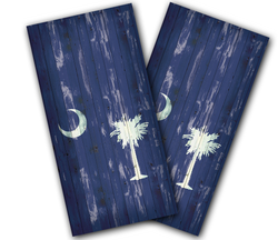 South Carolina Flag Distressed Cornhole Wraps