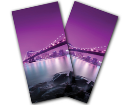 Purple Skyline Cornhole Wraps