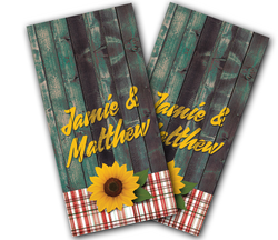 Sunflower Couple Cornhole Wraps