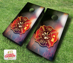 Fire Badge Cornhole Set with Bags