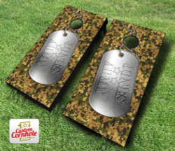 Military Dog Tag Cornhole Set with Bags