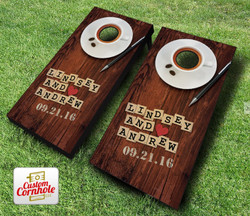 Couples Wordgame Wedding Cornhole Set with Bags