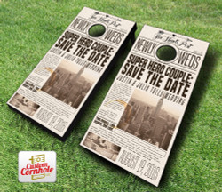 Newspaper Print Wedding Cornhole Set with Bags