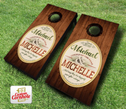 Wedding Emblem Rustic Cornhole Set with Bags