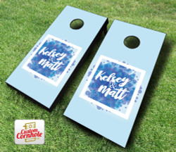 Blue Vogue Wedding Cornhole Set with Bags