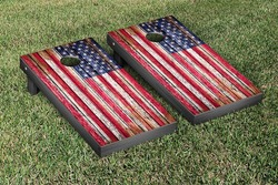United States US Flag Distressed Wood Cornhole Set with Bags