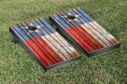 Texas Flag Distressed Wood Cornhole Set with Bags