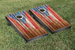 Ohio Flag Distressed Wood Cornhole Set with Bags