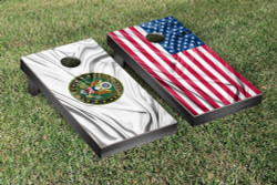 Split US & US Army Rippled Flag Cornhole Set with Bags
