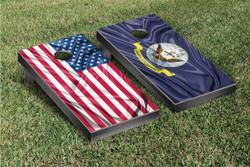 Split US & US Navy Rippled Flag Cornhole Set with Bags