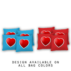 Red Heart Cornhole Bags - Set of 8