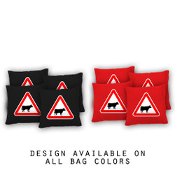 Caution Bull Cornhole Bags - Set of 8