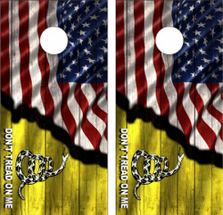 American Don't Tread On Me Cornhole Wraps