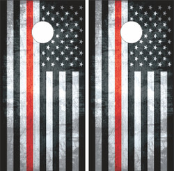 Thin Red Line Flag Cornhole Wraps