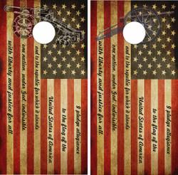American Flag Pledge of Allegiance Cornhole Wraps