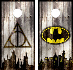 Batman and Harry Potter Skyline Combo Cornhole Wraps