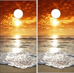 Beach Wave Sunset Cornhole Wraps