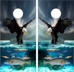 Eagle and Fish Cornhole Wraps