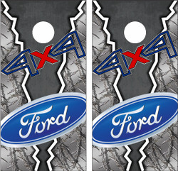 Ford Barb Wire Diamond Plate Cornhole Wraps