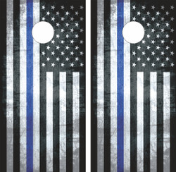 Thin Blue Line Flag Cornhole Wraps
