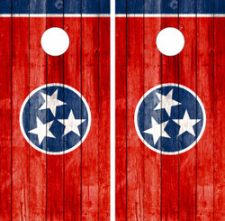 Tennessee Wood Flag Cornhole Wraps