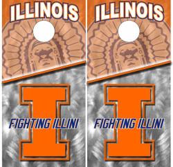 Illinois Fighting Illini Version 2 Cornhole Wraps