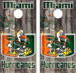 Miami Hurricanes Version 2 Cornhole Wraps