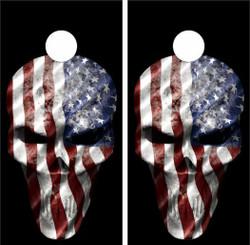 American Flag Skull Cornhole Wraps