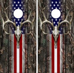 USA Deer Skull Cornhole Wraps